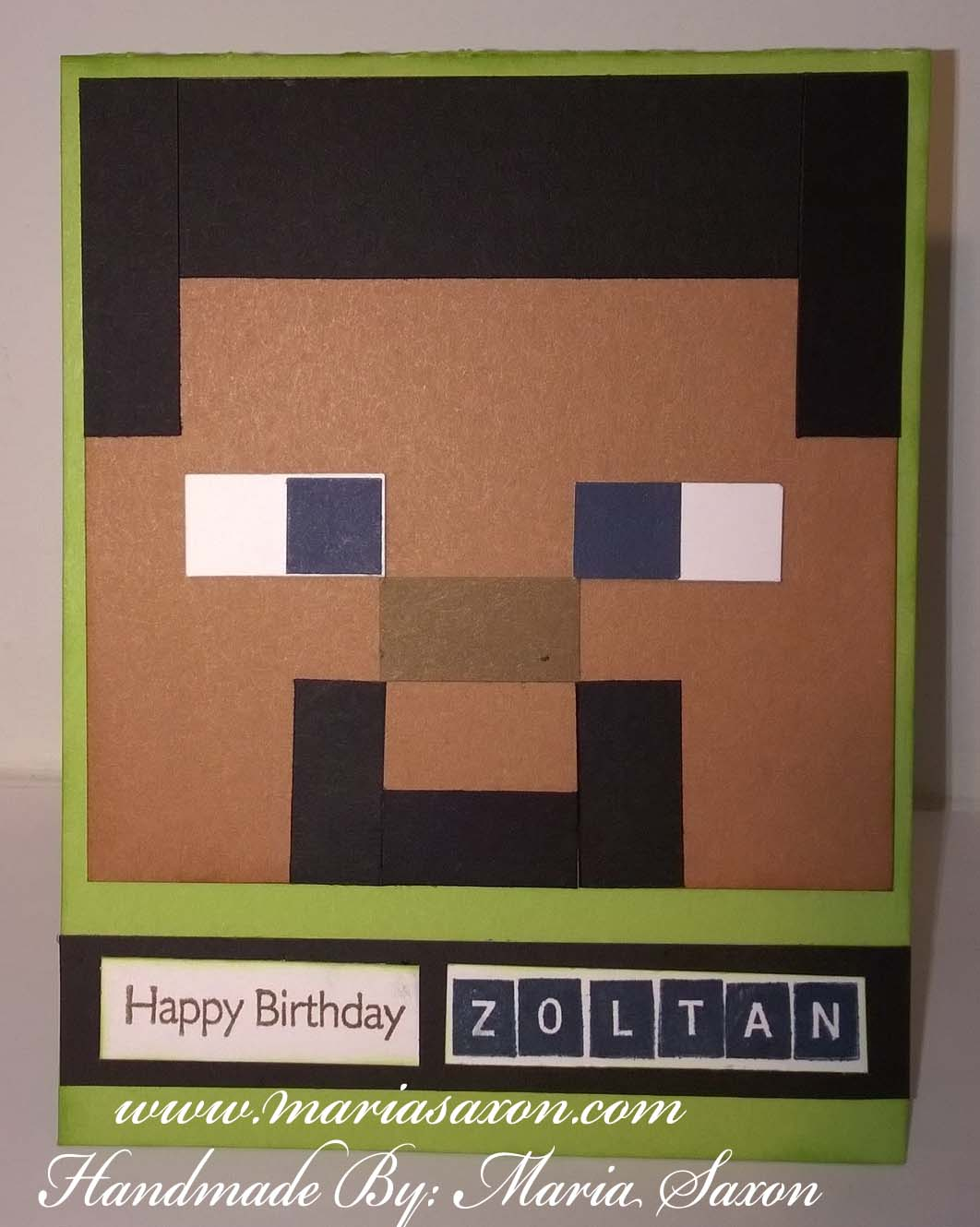 Minecraft birthday card welcome to my website this is an a2 size card and i used pear cardstock for my base steve the main character i used 4x4 saddle cardstock hair is black nose is chocolate bookmarktalkfo Images